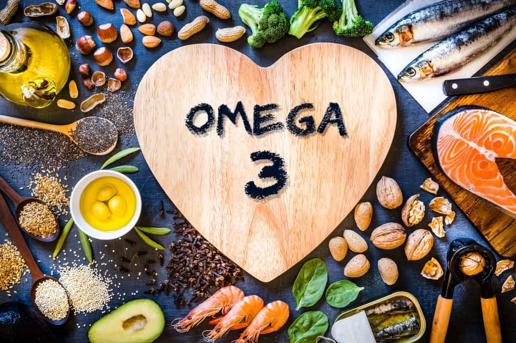 Assortment of food rich in omega-3
